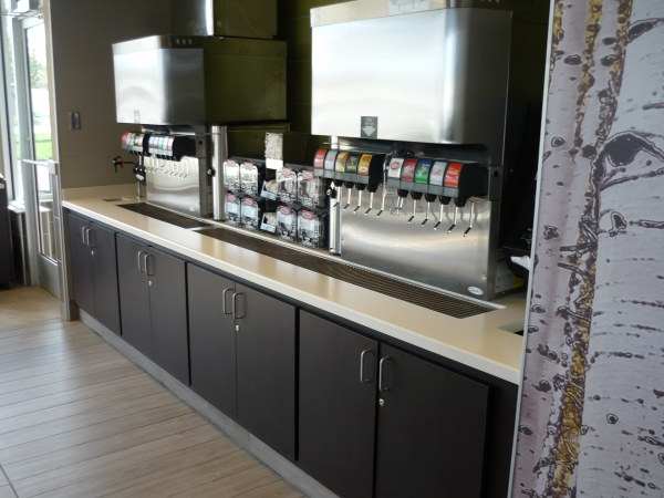 Manufactured Custom Beverage Bar, Front Counter, Bathroom Vanity,  Countertops, Chair Rail And Window Sills.